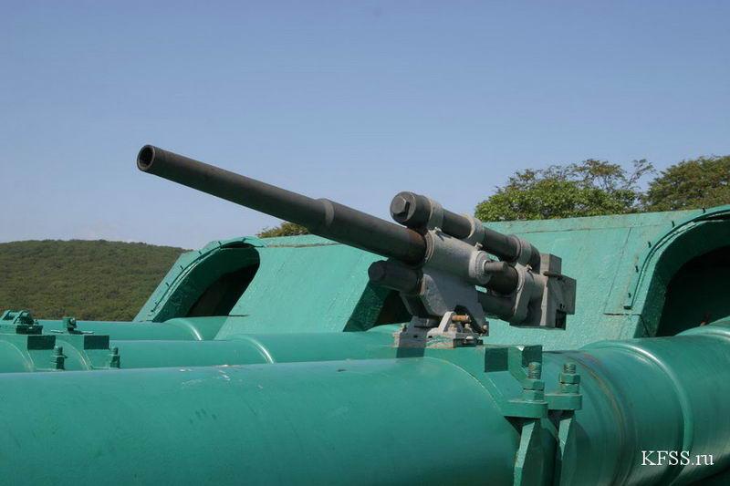 Орудие для туристов на  Ворошиловской батарее (№981), остров Русский